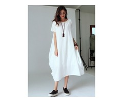 Solid Short Sleeve Maxi Shift Dress (1955132711)