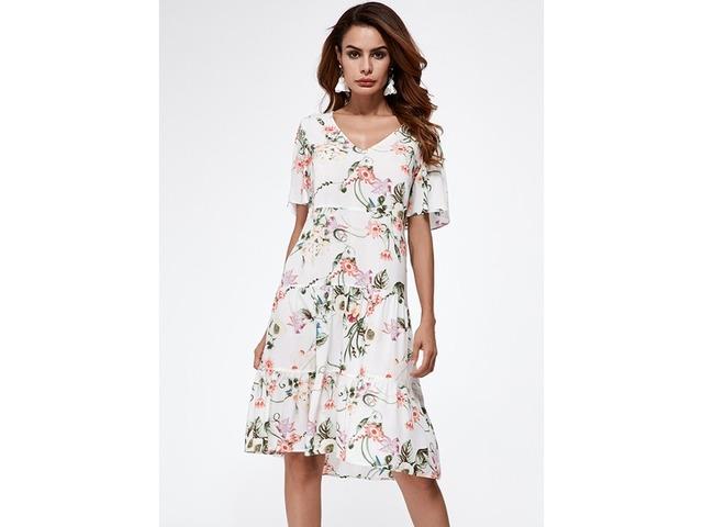 Floral Appliques Short Sleeve Knee-Length A-line Dress (1955132998) | free-classifieds-canada.com
