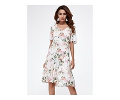Floral Appliques Short Sleeve Knee-Length A-line Dress (1955132998)