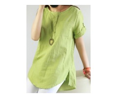 Solid Casual Round Neckline Short Sleeve Blouses (1645202648) | free-classifieds-canada.com
