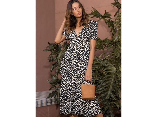 Polka Dot Short Sleeve Midi A-line Dress (1955305477) | free-classifieds-canada.com