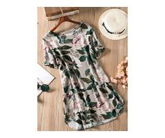 Floral Short Sleeve Above Knee A-line Dress (1955129170)