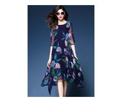 Floral Half Sleeve Knee-Length A-line Dress (1955136672)