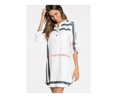 Stripe Buttons Long Sleeve Above Knee Shift Dress (1955128979)