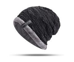 Mens Winter Plus Velvet Knitted Warm Skullcap Beanies