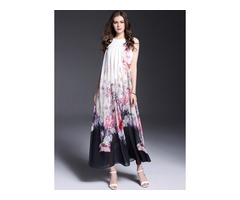 Floral Sleeveless Maxi A-line Dress (1955117867)