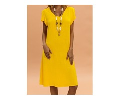 Solid Short Sleeve Knee-Length Shift Dress (01955354612)