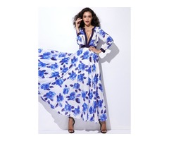 Floral Long Sleeve Maxi A-line Dress (1955124987)