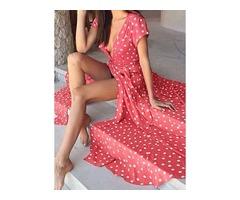Polka Dot Ruffles Short Sleeve Maxi A-line Dress (1955128306)