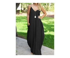 Solid Sleeveless Maxi A-line Dress (1955123875)