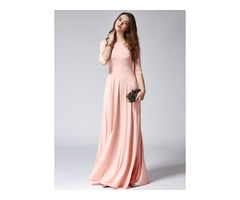 Solid Half Sleeve Maxi X-line Dress (1955122672)