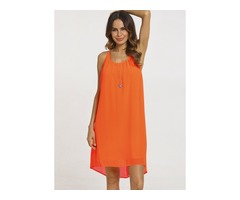 Solid Sleeveless Above Knee A-line Dress (01955221049)