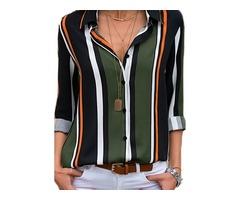 Stripe Casual Collar Long Sleeve Blouses (1645366030)
