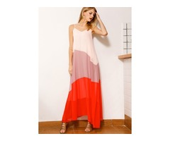 Color Block Sleeveless Maxi Shift Dress (1955151639)