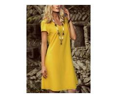 Solid Short Sleeve Knee-Length Shift Dress (01955374861)