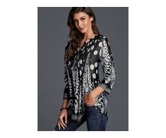 Floral Casual V-Neckline 3/4 Sleeves Blouses (01645376061)