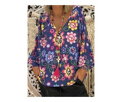 Plus Size Floral Casual V-Neckline Long Sleeve Blouses (1645375246)
