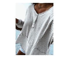 Stripe Casual V-Neckline Long Sleeve Blouses (1645375306)