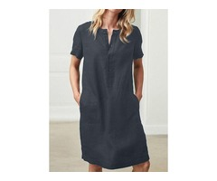 Solid Pockets Short Sleeve Knee-Length Shift Dress (1955378307)