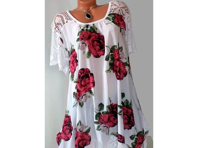 Plus Size Floral Vintage Round Neckline Short Sleeve Blouses (1645377474) | free-classifieds-canada.com