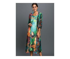 Plus Size Floral Wrap 3/4 Sleeves Midi A-line Dress (01955378045)