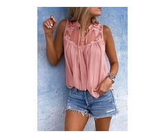 Solid Casual Collar Sleeveless Blouses (1645378098)