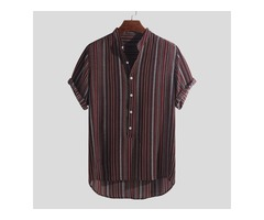 Mens Summer Striped Buttons Fly Henley Shirts