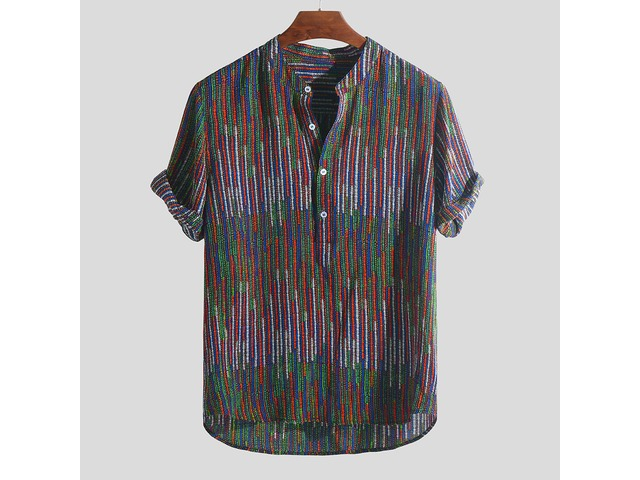 Mens Ethnic Style Printed Colorful Stripe Loose T-shirts | free-classifieds-canada.com