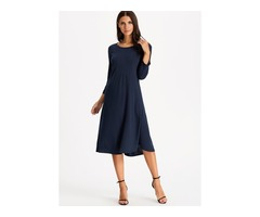 Solid 3/4 Sleeves Midi A-line Dress (01955380189)