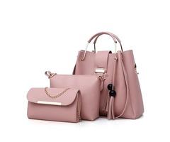 Women Faux Leather Three-piece Set Tassel Handbag