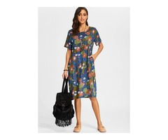 Floral Short Sleeve Midi Shift Dress (01955381903)