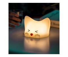 Colorful Silicone Cute Cat Night Light with Sounds USB Rechargeable Tap Control Dimming Table Lamp