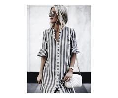 Color Block V-Neckline 3/4 Sleeves Elegant T-shirts (1685382859)