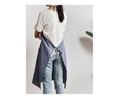 Women Retro Pure Color Cotton Linen Aprons Dress with Pocket