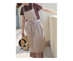 Women Vintage Japanese Style Cotton Linen Aprons Dress