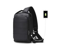 IPRee® Men Anti-theft USB Crossbody Bag Waterproof Chest Bag Leisure Shoulder Laptop Bag