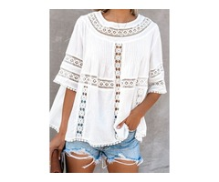 Solid Casual Round Neckline Half Sleeve Blouses (1645395960)