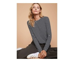 Color Block Casual Round Neckline Long Sleeve Blouses (01645391740)
