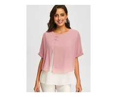 Solid Casual Round Neckline Half Sleeve Blouses (01645396435)