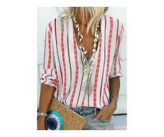 Stripe Casual V-Neckline Long Sleeve Blouses (01645397973)