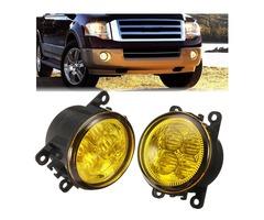 Pair Car Fog Lights Lamp with LED Bulb 12W Yellow for Ford/Honda/Acura/Nissan/Suzuki