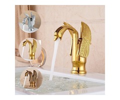 Luxury Gold Swan Bathroom Basin Mixer Tap Faucet Single Lever Hot and Cold Spout