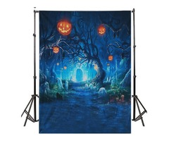 5x7FT Halloween Decor Pumpkin Light Wall Photography Studio Backdrop Background