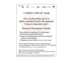 Caring Ahead: Family Caregivers of Persons with Dementia in Long-Term Care Study