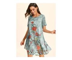 Floral Short Sleeve Knee-Length Shift Dress (01955404299)