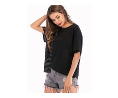Stripe Round Neck Short Sleeve Casual T-shirts (1685401968)