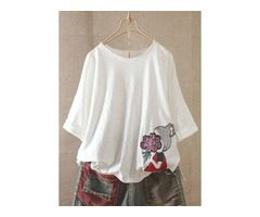 Character Round Neck 3/4 Sleeves Casual T-shirts (1685401980)