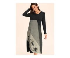 Color Block Long Sleeve Midi A-line Dress (01955404445)