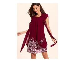 Stripe Short Sleeve Above Knee A-line Dress (01955404620)