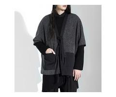 Men's Vintage Irregularity Design Loose Big Pockets Sweaters